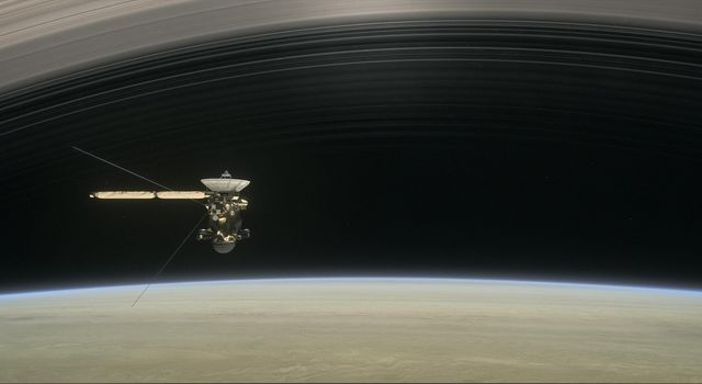 This illustration shows NASAs Cassini spacecraft about to make one of its dives between Saturn and its innermost rings as part of the missions Grand Finale.