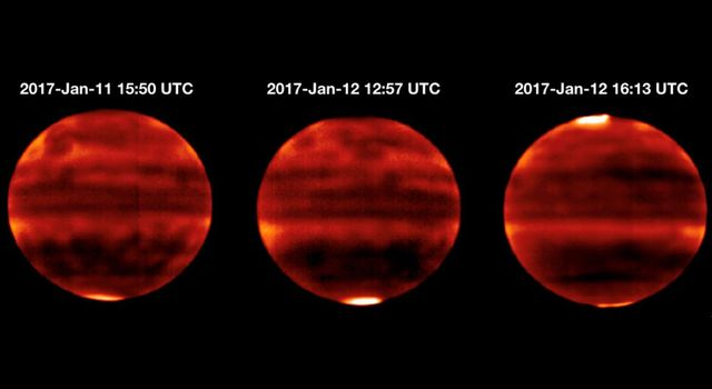 Sensitive to Jupiters stratospheric temperatures, these infrared images were recorded by the Subaru Telescope on the summit of Mauna Kea, Hawaii. Areas that are more yellow and red indicate the hotter regions.
