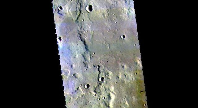This image from NASAs Mars Odyssey shows the plains to the east of Hecates Tholus.