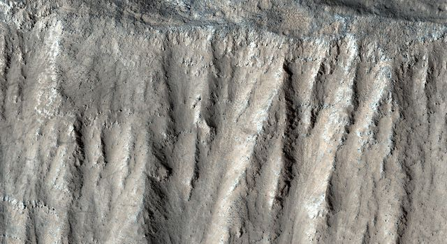 This image acquired on August 10, 2018 by NASAs Mars Reconnaissance Orbiter, shows part of the steep wall of the caldera (a large volcanic crater) at the top of Ascraeus Mons, one of Mars giant volcanoes.