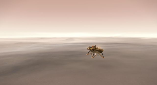 This illustration shows a simulated view of NASAs InSight lander firing retrorockets to slow down as it descends toward the surface of Mars.