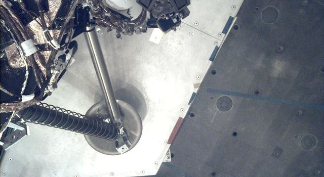 This image of a footpad on NASAs Insight lander was taken by the Instrument Deployment Camera during the assembly, test and launch operations phase.
