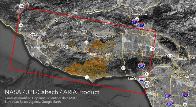 The ARIA team at NASAs Jet Propulsion Laboratory created these Damage Proxy Map (DPM) images depicting areas in Southern and Northern California that are likely damaged by the Woolsey and Camp Fires.