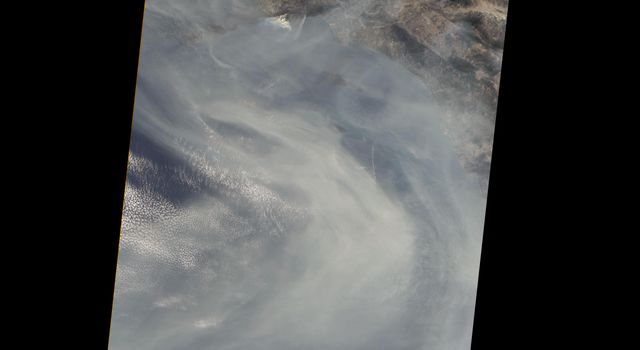 NASAs Terra spacecraft shows the Woolsey Fire in southern California on Nov. 11, 2018. The Woolsey Fire had charred more than 90,000 acres as of Nov. 12, 2018, and was 20-percent contained at that time.