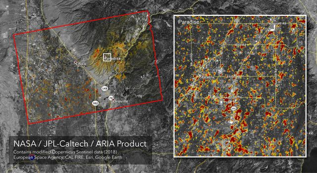The ARIA team at NASAs Jet Propulsion Laboratory created this updated Damage Proxy Map (DPM) image depicting areas of Northern California that are likely damaged as a result of the Camp Fire.
