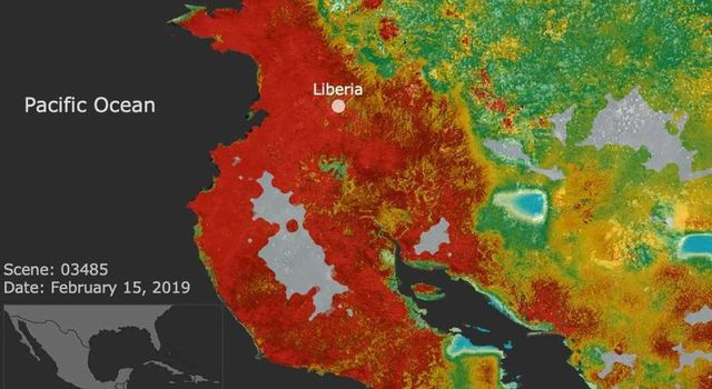 This ECOSTRESS image shows plant stress in the Guanacaste region of Costa Rica a few months after the onset of a major Central American drought.