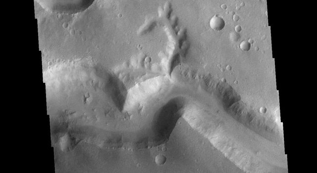 This image from NASAs Mars Odyssey shows a small section of Nirgal Vallis. Nirgal Vallis is located in Noachis Terra.