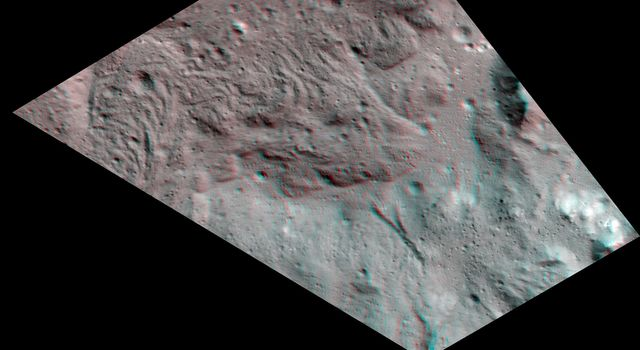 Lava Flows on the Floor of Occator Crater (3-D)