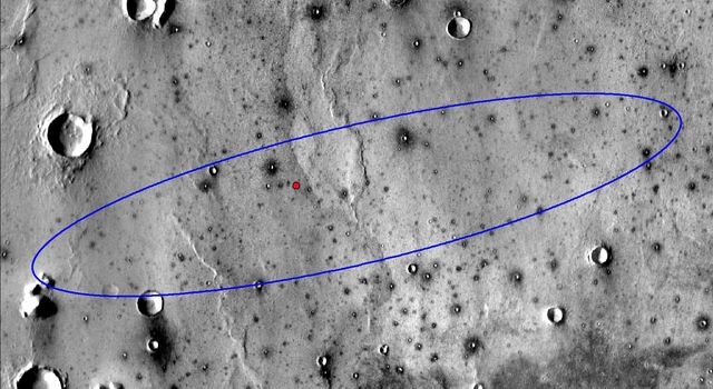 This image shows the final landing location of NASAs InSight lander in this annotated image of the surface of Mars, taken by the THEMIS camera on NASAs 2001 Mars Odyssey orbiter in 2015.