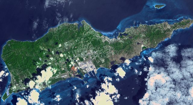 NASAs Terra spacecraft shows Saint Croix, a district of the U.S. Virgin Islands, in the Caribbean Sea.
