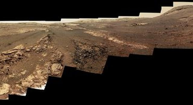 This image is an edited version of the last 360-degree panorama taken by the Opportunity rovers Pancam from May 13 through June 10, 2018. The version of the scene is presented in approximate true color.
