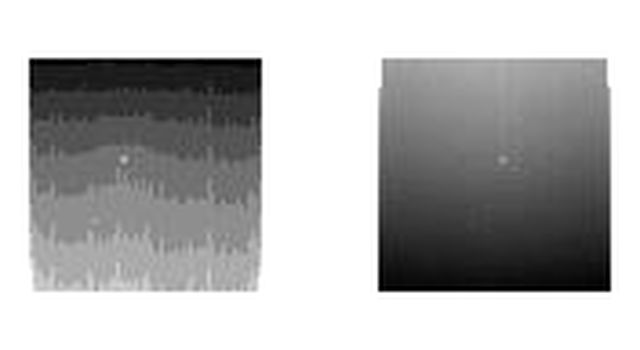 These two thumbnail images, with the ghostly dot of a faint Sun near the middle of each, are the last images NASAs Opportunity rover took on Mars.