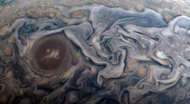 Dramatic atmospheric features in Jupiters northern hemisphere are captured in this view from NASAs Juno spacecraft.