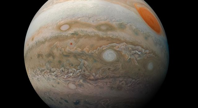 This striking view of Jupiters Great Red Spot and turbulent southern hemisphere was captured by NASAs Juno spacecraft as it performed a close pass of the gas giant planet.