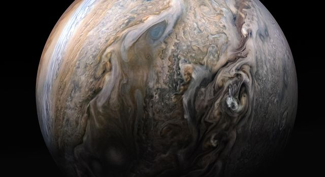 This stunning compilation image of Jupiters stormy northern hemisphere was captured by NASAs Juno spacecraft as it performed a close pass of the gas giant planet.