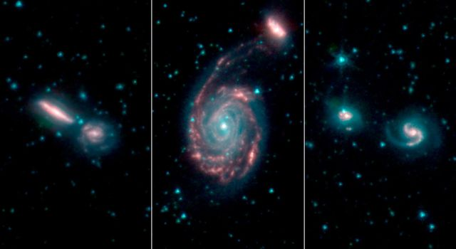 These three images, by NASAs Spitzer Space Telescope, show merging galaxies observed for the Great Observatories All-sky LIRG Survey, or GOALS.