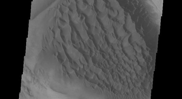 This image from NASAs Mars Odyssey shows the sand deposit on the floor of Matara Crater. The deposit is thick enough to hide the underlying crater floor creating a sheet of sand.