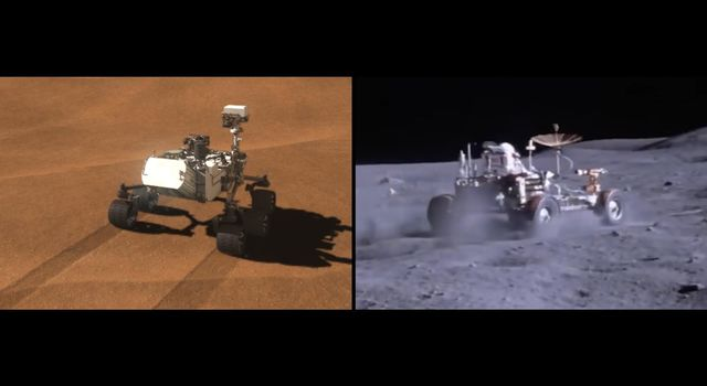 Side-by-side images depict NASAs Curiosity rover (left) and a moon buggy driven during the Apollo 16 mission.