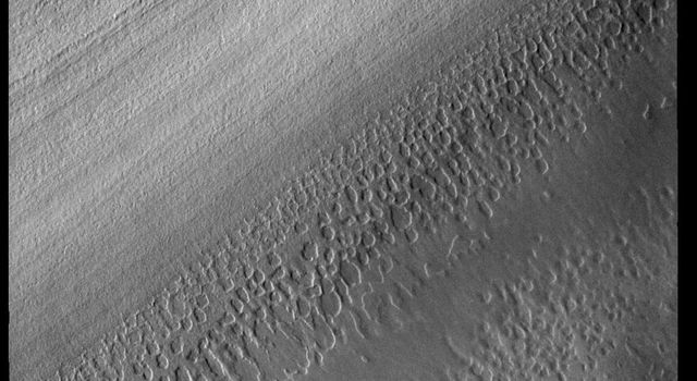This image from NASAs Mars Odyssey shows the South Polar cap. The linear features are the steep side of a polar trough.