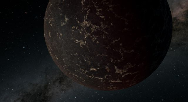 This artists illustration of the exoplanet LHS 3844b, shows the planets surface may be covered mostly in dark lava rock, with no apparent atmosphere, according to observations by NASAs Spitzer Space Telescope.
