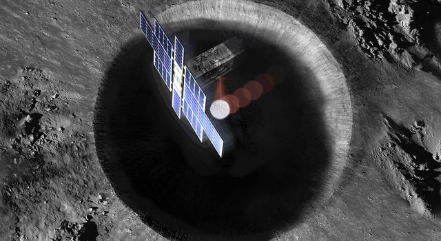 This artists concept shows a view from above the Lunar Flashlight spacecraft, a six-unit CubeSat designed to search for ice on the Moons surface using special lasers.