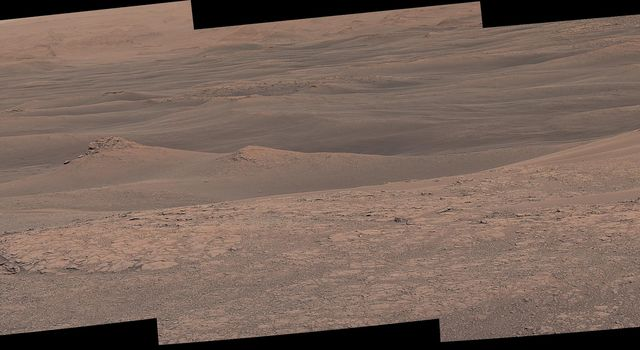The Mast Camera (Mastcam) on NASAs Curiosity Mars rover captured this mosaic as it explored the clay-bearing unit on Jan. 23, 2019 (Sol 2299).