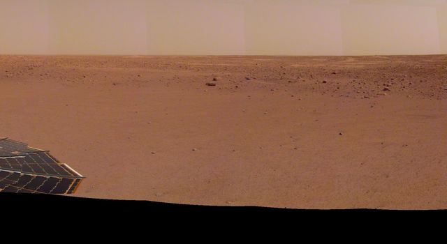 NASAs InSight spacecraft captured this panorama of its landing site on Dec. 9, 2018, the 14th Martian day, or sol, of its mission.