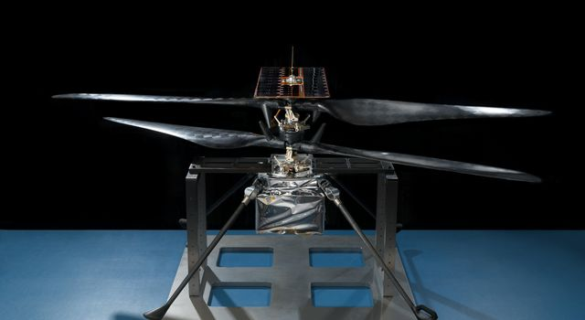 This image of the flight model of NASAs Mars Helicopter was taken on Feb. 14, 2019, in a cleanroom at NASAs Jet Propulsion Laboratory in Pasadena, California.