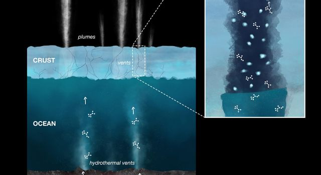 This illustration shows the process of organic compounds making their way onto ice grains emitted in plumes from Saturns moon Enceladus, where they were detected by NASAs Cassini spacecraft.