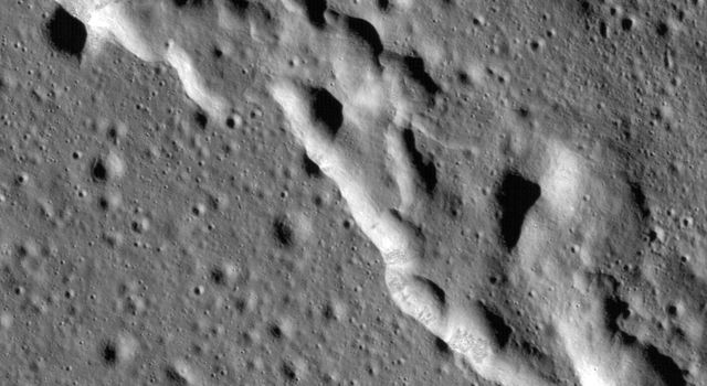 Scientists have discovered these wrinkle ridges in a region of the Moon called Mare Frigoris. These ridges add to evidence that the Moon has an actively changing surface. This image was taken by NASAs Lunar Reconnaissance Orbiter (LRO).