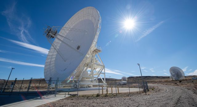 This image shows antenna dishes at NASAs Deep Space Network complex in Goldstone, California, photographed on Feb. 11, 2020.