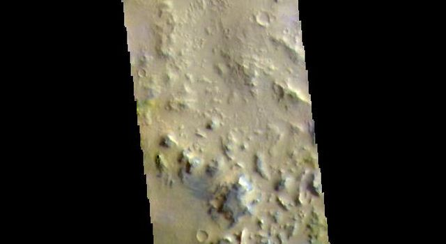 This image from NASAs Mars Odyssey shows part of the plains of Noachis Terra southwest of Schiaparelli Crater.