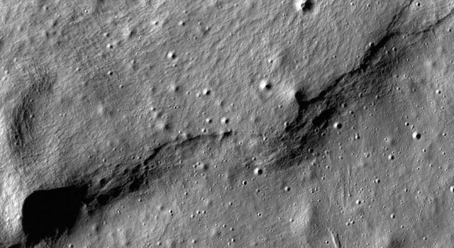 This image of lobate scarps - a kind of curved hill - was taken near a region of the Moon called Mare Frigoris by NASAs Lunar Reconnaissance Orbiter (LRO).