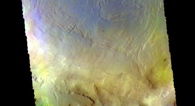 This image from NASAs Mars Odyssey shows part of the floor of Renaudot Crater, located on the margin between Terra Sabaea and Utopia Planitia.