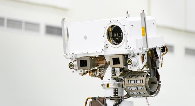 This image shows a close-up of the head of Mars 2020s remote sensing mast. The mast head contains the SuperCam instrument.