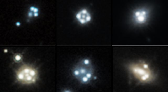 Each snapshot shows four distorted images of a background quasar, surrounding the core of a massive foreground galaxy. The gravity of the foreground galaxy magnifies the quasar, an effect called gravitational lensing.