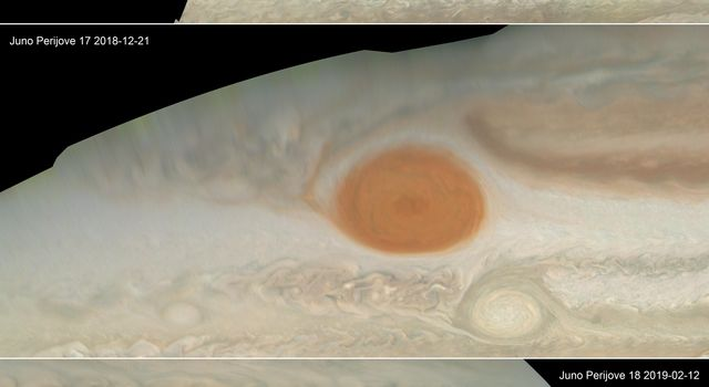 NASAs Juno spacecraft shows Jupiters iconic Great Red Spot, a storm that has been raging since at least the 1800s.