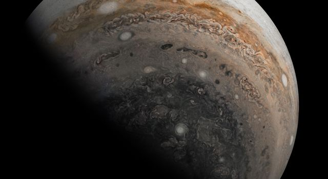 NASAs Juno spacecraft caught this striking view of Jupiters southern hemisphere as the spacecraft sped away from the giant planet just after its close flyby on Nov. 3, 2019.