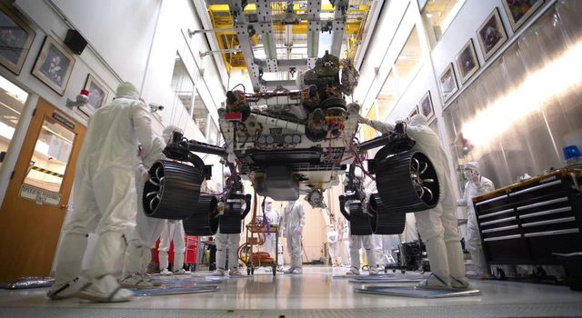 This time-lapse video, taken on Oct. 8, 2019, at NASAs Jet Propulsion Laboratory in Pasadena, California, captures the first time the Mars 2020 rover carries its full weight on its legs and wheels.