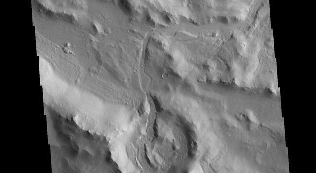This image from NASAs Mars Odyssey shows part of the southern rim of Cerulli Crater.