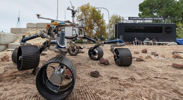 An engineering model of NASAs Mars 2020 rover makes tracks during a driving test in the Mars Yard, at NASAs Jet Propulsion Laboratory in Pasadena, California.
