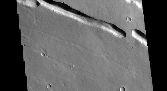 This image from NASAs Mars Odyssey shows part of Elysium Fossae, located on the western flank of the Elysium volcanic complex.