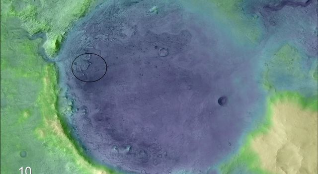 Lighter colors represent higher elevation in this image of Jezero Crater on Mars, the landing site for NASAs Mars 2020 mission. The oval indicates the landing ellipse, where the rover will be touching down on Mars.