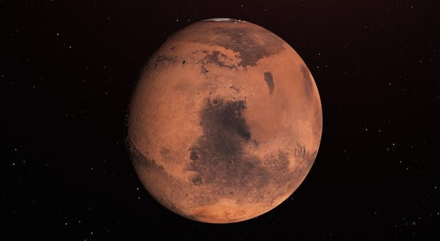 Water Ice Marked on Mars Globe (Illustration)