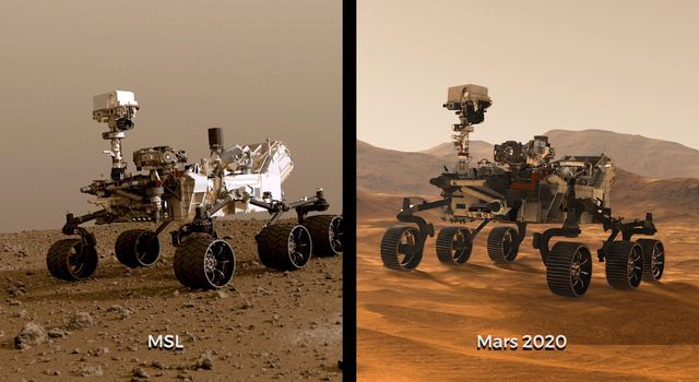 This image shows illustrations of NASAs Curiosity and Mars 2020 rovers.