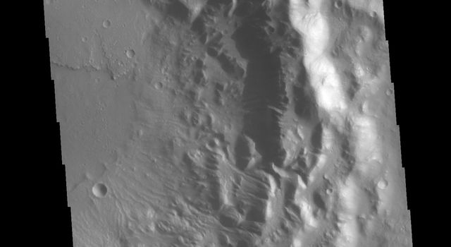 This image from NASAs Mars Odyssey shows half of an unnamed crater in southern Tempe Terra.