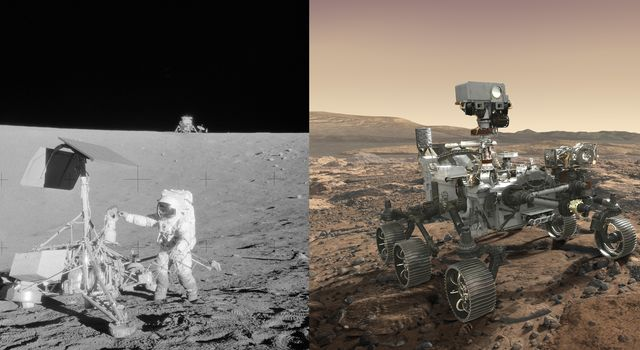 Side-by-side images depict NASAs Surveyor 3 spacecraft (left) and an artists concept of the Mars 2020 rover (right).