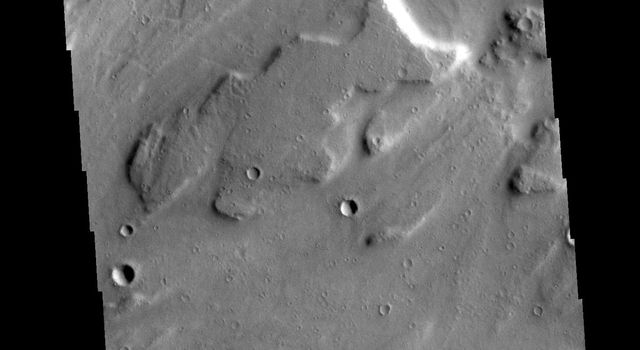 This image from NASAs Mars Odyssey shows part of Sacra Mensa, a large mesa located between the north and south channels of Kasei Valles.