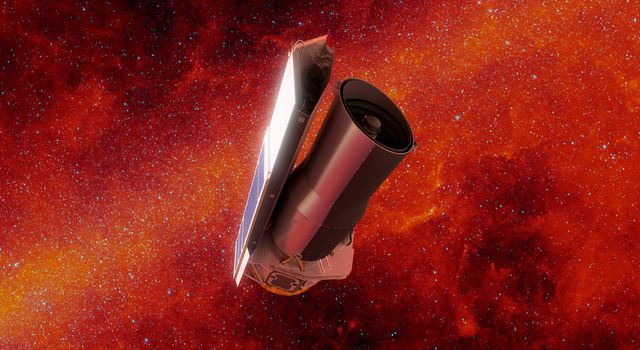 In this artists rendering of NASAs Spitzer Space Telescope in space, the background is shown in infrared light.