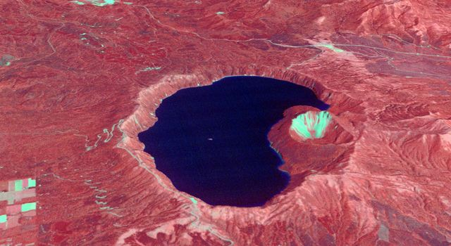 NASAs Terra spacecraft shows Japans Lake Mashu on Hokkaido Island, one of the clearest lakes in the world.